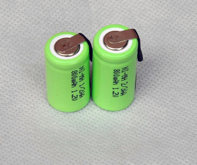 2PCS 1.2V 1/2AA rechargeable battery 800mah 1/2 AA ni-mh nimh cell with tab pins for electric shaver razor cordless phone