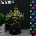 3D Illusion Castle 3D Night Light RGB Changeable Mood Lamp LED Light DC 5V USB Decorative Table Lamp Get a free remote control