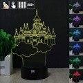 Ilusão 3D Castelo 3D Humor Lâmpada Night Light RGB Mutável LED decorativo candeeiro de mesa de luz dc 5 v usb obter um free remoto controle