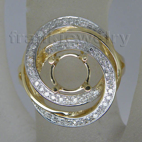 Unique Ring Designs | Latest Gold Finger Ring Designs 14kt Yellow Gold Round 6 5mm Semi