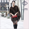 CDS071 Fur Coat 2014 Mink Knitted Cape with Hooded and Tassel  Free Shipping