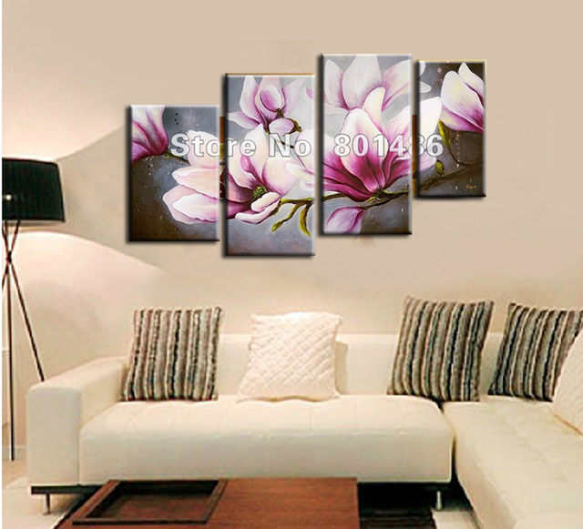 Hand Painted Oil Tree Painting 4 Piece Wall Art Canvas Magnolia Painting Flower Painting Modern Pictures & Hand Painted Oil Tree Painting 4 Piece Wall Art Canvas Magnolia ...
