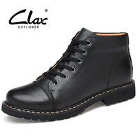 CLAX Men Winter Boots With Fur Leather Shoe High Top Genuine Leather Men S Warm Shoe