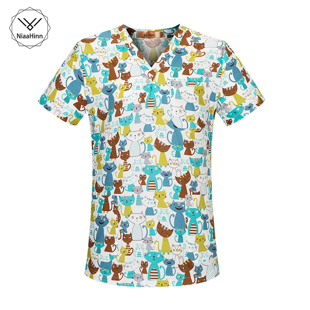 NEW Arrival Women Scrub Top With V-Neck 100% Cotton Blue Cartoon Cat Print Surgical Medical Uniforms Hospital Nurse Scrub Tops