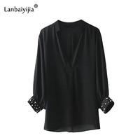 Lanbaiyijia 2018 Europe America Style Women Shirts V Neck Long Sleeve Solid Summer Shirt Pearl Decoration