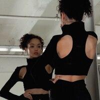 Open Back Off The Shoulder Short Top Turtleneck Backless Shirt Gothic Top Knitted Remeras Mujer T Shirt Women Vogue 70j101