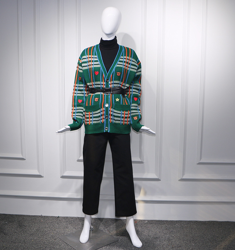 Breasted Dark Verde Las Primavera Bordado Multicolor Solo En Oscuro V Mujeres Green Cuello 2019 Abrigo Suéter Pista Chaqueta De Streetwear OdUYUxq