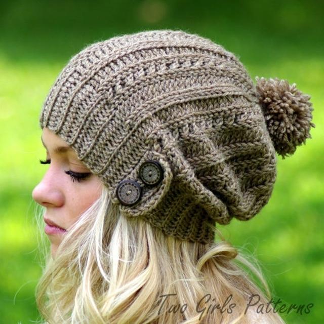 2018 señora chica mujeres frío cálido invierno de piel de punto sombrero Slouchy Beanie Cap Warm Hat elástico sólido suave nuevo
