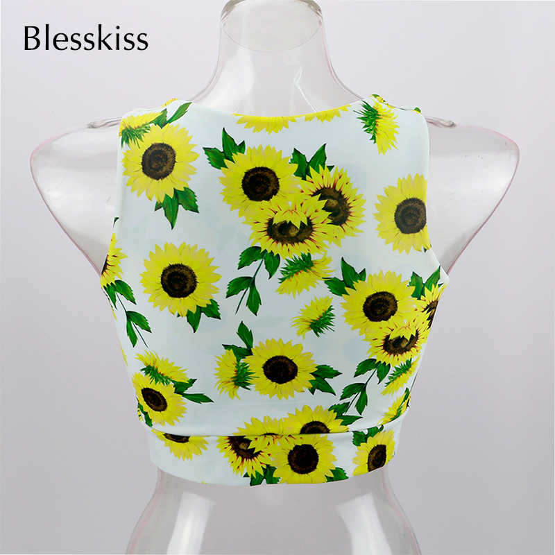 Blesskiss Push Up Gym Crop Top Women Sport Shirt Sexy Sleeveless Knot Swimming Fitness Yoga Top For Ladies Girls Sportswear BH