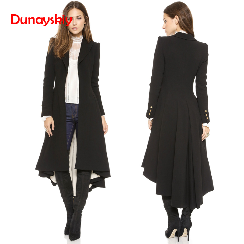Dunayskiy Women   Trench   Coat Plus Size 5XL Black Slim Maxi Long   Trench   Dovetail Long Sleeve Casual Solid Female Wool Outwears