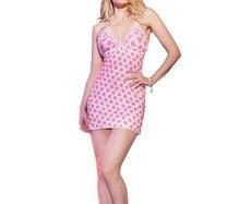 FGirl Erotische Sexy Dessous Kostüme Abendkleid Pyjamas für Frauen Erotische Dessous Süße Rosa Herz-druck Chemise FG31441