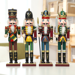 4pieces 30cm colorful wood nutcracker soldier ornament for home decoration hand made miniature wood crafts Christmas decoration