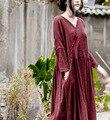 Spring Retro V Neck Raw Edged Pleated Long Cotton Linen Women Dress, Autumn Asymmetric Cut Lady Loose Bottoming Basic Dresses