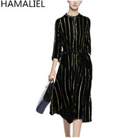 HAMALIEL Runway Designer Women Party Dress 2017 Luxury Black Gold Striped Velvet Bow Lady Three Quarter