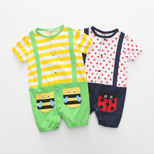 Cute baby 2019 fashion summer print ladybug bee romper bandage jumpsuit newborn clothes short sleeve tights