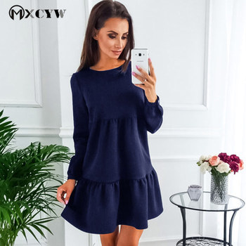 Solid Sexy Dress Female Fashion Causal Long Sleeves Round Neck Sweet Dresses For Women Elastic Waist Stitching Women'S Clothing