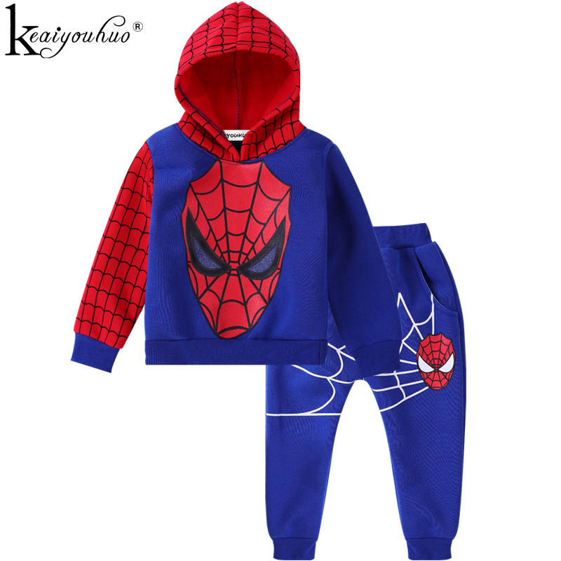 KEAIYOUHUO Boys Clothes Spiderman Hooded Boys Sport Suit Kids Clothes Sets Cotton Toddler Outfits Suits Children Clothing Sets 2018 children clothing boys sets girls sport suit windbreake outfits suits costumes for kids clothes sets cartoon boys clothes