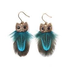Multicolor Feather Tassel Earrings for Women Bohemian Cute Owl Handmade Lovely Charm Drop Earings Boho Jewelry 2019