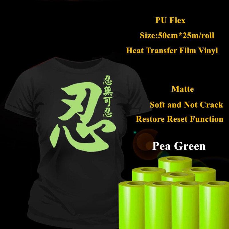 PU Flex Heat Transfer Vinyl For Clothing Pea Green Matte Pu Heat Press Vinyl Heat Transfer Film Vinyl Plotter 50cm*25m/roll