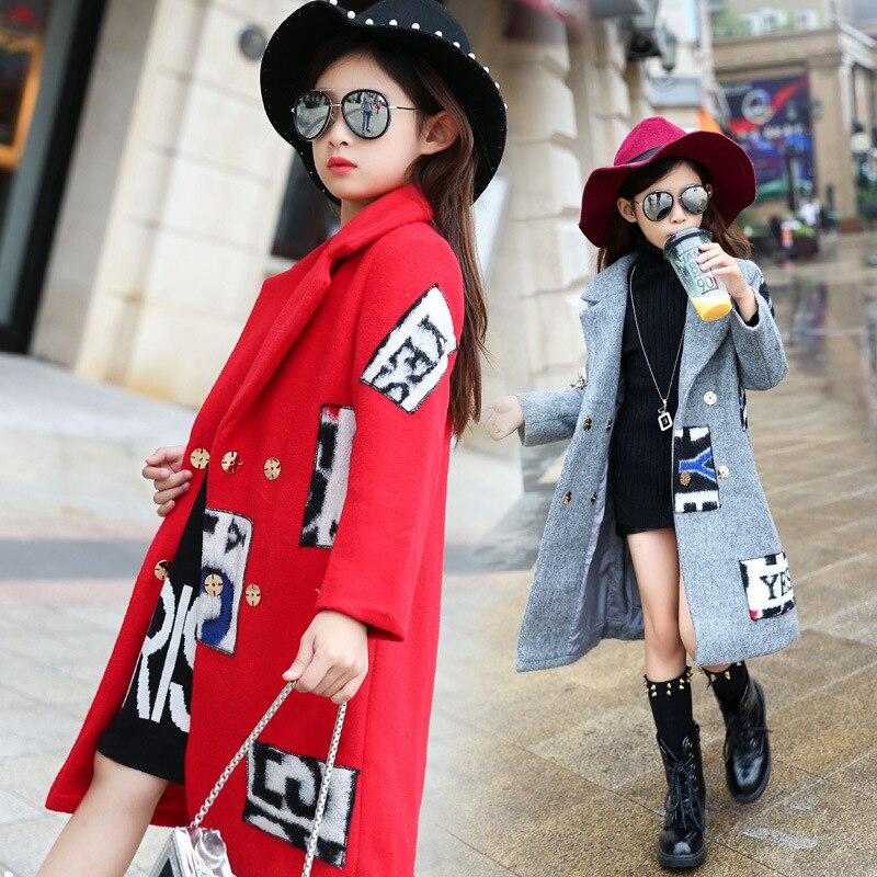 ФОТО Children's Garment Fur Letter Long Loose Girl Parenting Keep Warm Windbreak Serve Overcoat 3 Colour