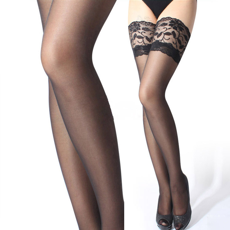 2019 Women Silk Stockings Sexy Lace Top Thigh High Over Knee Socks Pantyhose Black Over The Knee Stockings For Ladies Girls
