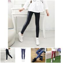Baby Girls Winter Autumn Leggings Warm Pants Thin Stretchy Teens Leather Trousers YJS Dropship