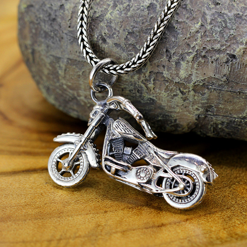 Sterling Silver pure handmade S925 sterling silver jewelry wholesale retro universal Harley Motorcycle Pendant цена