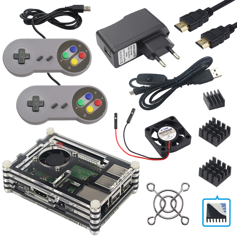 Raspberry Pi 3 B+ Acrylic Case + 2 5A Power Adapter + Heat Sink + Game  Controllers compatible with Pi 3B+ / 3B / 2B Pi3 Box kit