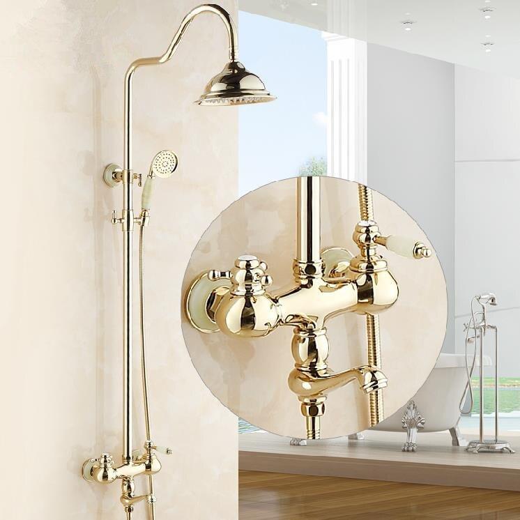 Смесители для душа роскошные золотые Цвет ванна душ Настенные Ванна кран осадков глава ручной спрей смесители Q-66B