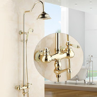 New Luxury Rose Gold Color Wall Mount Bath Shower Set Faucet Mixer Taps Rainfall Head Handheld