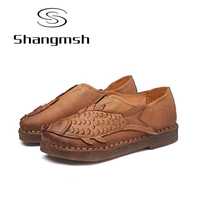 Shangmsh 2017 Autumn Retro Style Flat Shoes Women's Genuine Leather Moccasins Soild Fish Shape Comfortable Casual Women Shoes shangmsh shoes for women 2017 new autumn