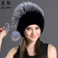 Female Winter Rex Rabbit Fur Knitted Natural Animals Fur With Fox Fur Decorated Single Size Women Winter Beanie Knitting Hats