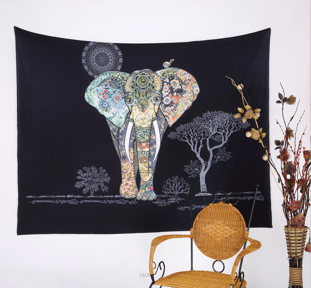 203x153cm Bohemian Hippie Wall Hanging Tapestries Indian Black Flowers  Elephant Tapestry Door Curtain Bedspreads Free Shipping