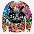 2015 New Fashion Men Funny Pullover Hoodies Chromatic stripe big cat eyes 3D Printed Novelty Sweatshirts Full Sleeved
