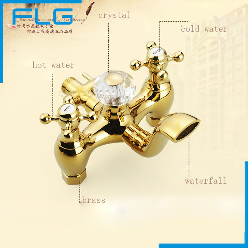 Wall Mounted Gold Plate Bathtub Faucet Double Handle antique Brass Mixer Tap Bath Shower Faucets Wholesale in Shower Faucets from Home Improvement