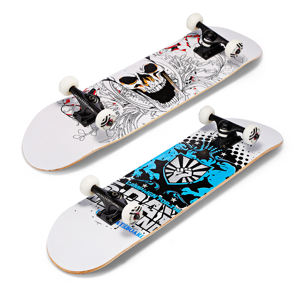 PUENTE 31-Inch U-Shaped Transverse Skateboard 7-Layer Maple Wood Deck With T-Shape Tool For Kids Adults Beginners