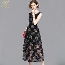 ac3c68b4785a0 H هان الملكة مزاجه شبكة خياطة التطريز 2018 جديد الموضة الخامس الرقبة أكمام  اللباس أزياء أنثى سليم مثير فساتين