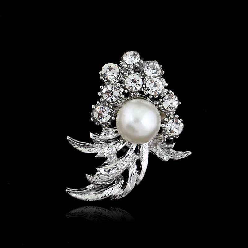 Luxe mariage fête mariée broches bijoux grande perle broches pour les femmes cristal strass fleur broche broche