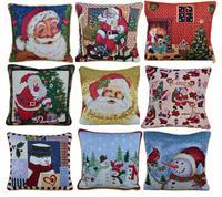Atacado Decoração De Natal Presentes de Natal Navidad Throw Pillow Case para Sofá Capa de Almofada Quadrada de Algodão de Linho capas de almofada