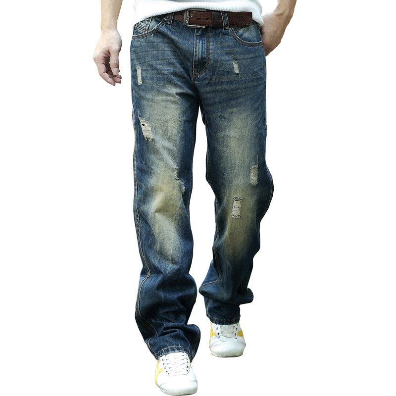 New 2017 Mens Denim Cargo Pants Jeans Hole Hip Hop Baggy Jeans Men Loose Long Trousers Big Size 28-44 moruancle men s baggy cargo jeans pants loose straight tactical denim trousers for big and tall size 29 46 side zipper pockets