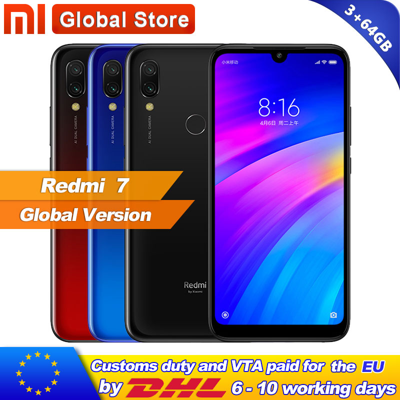 Global version Xiaomi Redmi7 Redmi 7 3GB 64GB Mobile Phone Octa Core 12MP Snapdragon 632 Phone
