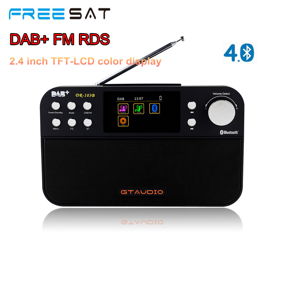 FREESAT DR-103B DAB+ FM RDS Radio 2.4 TFT Color Display Alarm Clock Bluetooth 4.0 Digital DAB FM Stereo Radio gtmedia dr 103b dab bluetooth receiver portable digital dab fm stereo radio receptor with 2 4 inch tft color display alarm clock