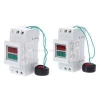 2P 36mm Din ray çift LED gerilim akım ölçer voltmetre ampermetre AC 80-300V 250-450V 0-100A Mr22 19 Dropship