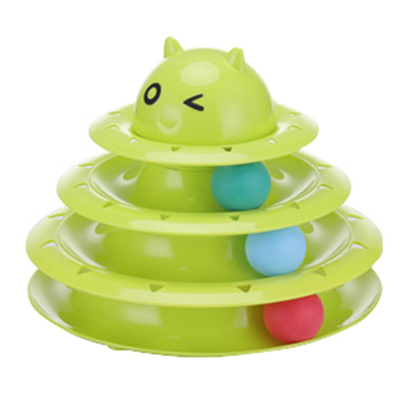 New Arrival Three Levels Tower Tracks Disc Cat Toy Amusement Shelf Play Station Pet Cats Triple Play Disc Ball Toys