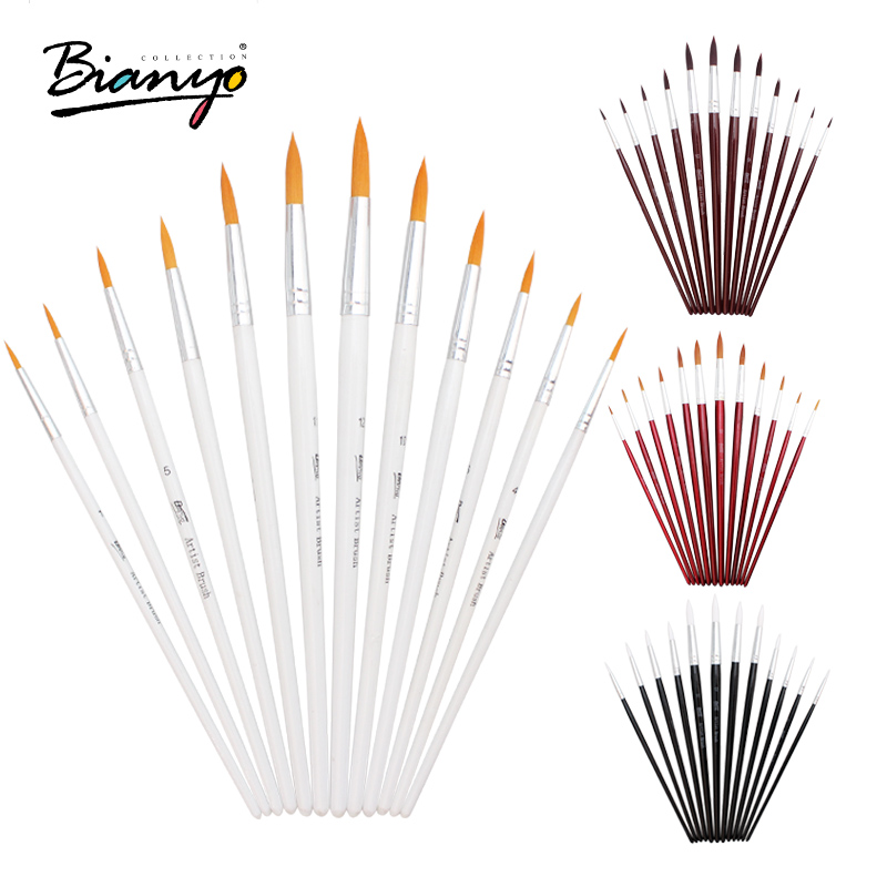 Bianyo 12Pcs Round Shape Watercolor Brush Nylon Hair Brush Artists Paint Brush Set For School Acrylic Gouache Paint Art Supplies