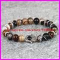 1PCS Nature 8mm Brown Emperor Jade Energy Stone Beads Bracelet Silver Hamsa Hand Charms Bracelet Yoga Mala Buddha head Bracelets