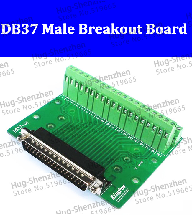 Conector do Adaptador de Terminal de Sinais D-sub de 37 Lote Pinos Macho Db37 Db-37 Breakout Board Rohs 2 Row 5 Pçs –