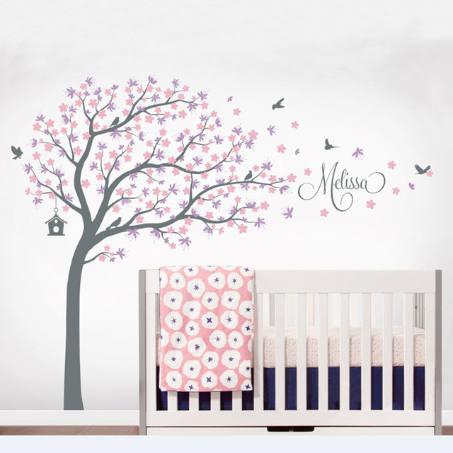 Butterflies Tree Wall Decal Vinyl Stickers Personalized Kids Names And  Birds Cherry Blossom Tree Wall Decals