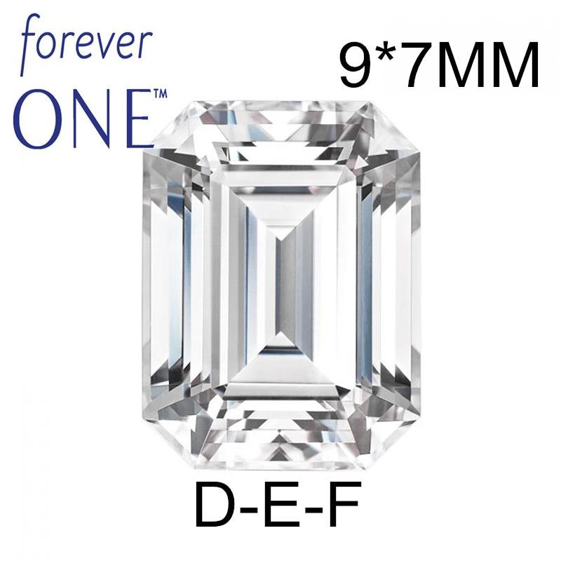 Passé Diamant Testeur Certifié Deux Carat 2Ct Émeraude VS D E F Couleur Charles Colvard Pour Toujours Un Moissanite Lâche pierres gemmes