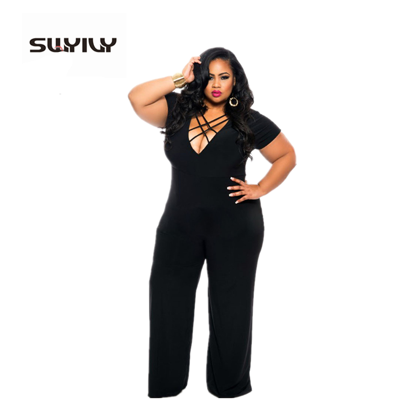 Large Size 3XL Sexy v-Neck Summer Jumpsuits European Style Romper Straight One Piece Long Trousers Black Blue Bodysuit
